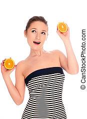 jonge, mooie vrouw, met, sinaasappel, -, vrijstaand