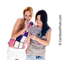 jonge, mooie vrouwen, gebruik, de, cellphone, om te, zenden, en, ontvangen, sms