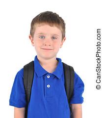 jonge, onderricht jongen, met, bookbag