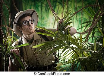 jonge, ontdekkingsreiziger, verloren, in, jungle