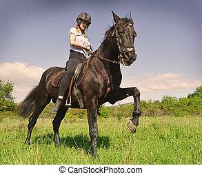 jonge, paardrijden, meisje