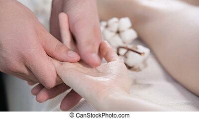 jonge, pampering, spa, fysiotherapeut, mannelijke , vinger,...