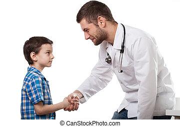 jonge patiënt, met, arts
