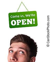 jonge, personen, hoofd, kijken naar, gesloten, en, open...