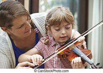 jonge, portie, pupil, vrouwlijk, viool, les, leraar