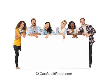 jonge, poster, vrienden, groep, neiging, het glimlachen, groot