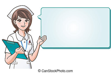 jonge, schattig, verpleegkundige, het bezorgen, informat