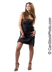 jonge, sexy, beauty, vrouw, in, een, black , dress., vrijstaand