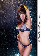 jonge, sexy, woman., water, studio, photo.