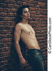 jonge, shirtless, man