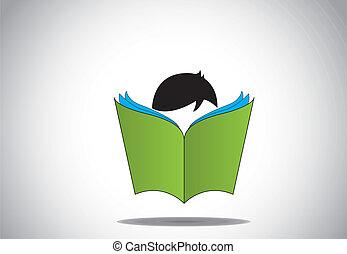 jonge, smart, geitje, lezende , opengeslagen boek