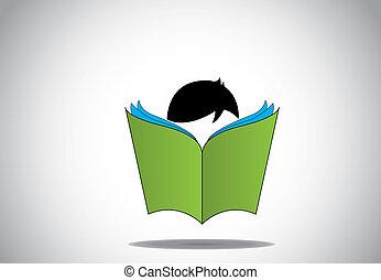jonge, smart, jongen, geitje, lezende , 3d, groene,...