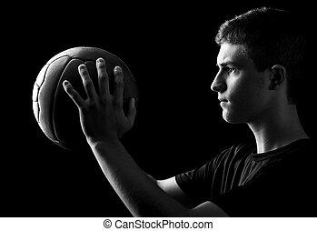 jonge, speler, met, bal