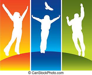 jonge, springt, drie mensen