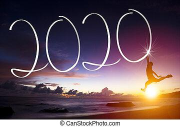 jonge, strand., concepten, 2020, jaar, man, vrolijke , nieuw, springt