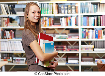 jonge, student, meisje, met, boekjes , in, bibliotheek