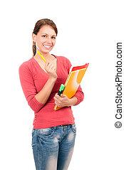 jonge, student, meisje, met, notitieboekjes, en, pen, vrijstaand, op wit, achtergrond