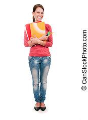 jonge, student, meisje, met, notitieboekjes, vrijstaand, op wit, achtergrond