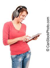 jonge, student, meisje, met, tablet pc, en, headphones