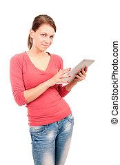 jonge, student, meisje, met, tablet pc