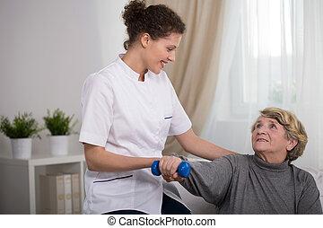 jonge, therapist, en, patiënt