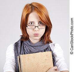 jonge, twijfelen, mode, meisje, in, bril, met, oud, boek
