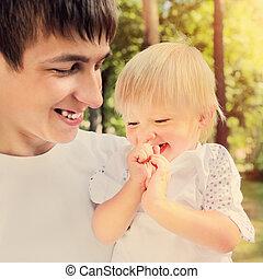jonge vader, en, kind