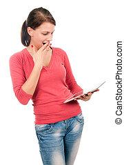 jonge, verwonderd, student, meisje, met, tablet pc
