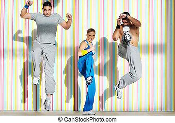 jonge volwassenen, groep, in, fitnessclub