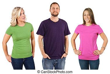 jonge volwassenen, met, leeg, overhemden