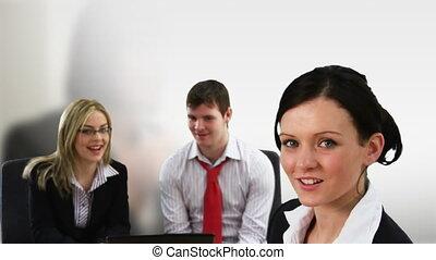jonge volwassenen, werkende , in, een, team