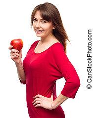 jonge, vrolijke , meisje, met, appel