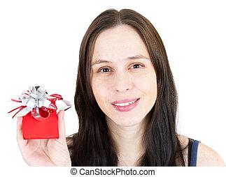 jonge, vrolijke , meisje, met, weinig; niet zo(veel), rood, giftdoos, vrijstaand, op, white.