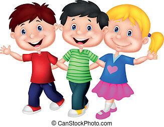 jonge, vrolijke , spotprent, kinderen
