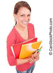 jonge, vrolijke , student, meisje, met, notitieboekjes, vrijstaand, op wit, achtergrond