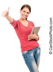 jonge, vrolijke , student, meisje, met, tablet pc