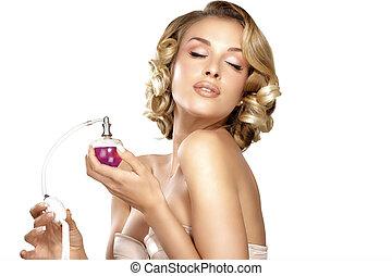 jonge vrouw , aan het dienen, parfum, op, haar, hals,...