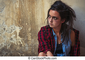 jonge vrouw , afhankelijk, op, alcohol, en, drugs