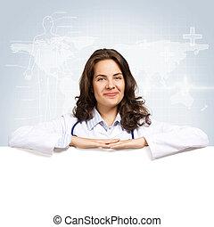 jonge vrouw , arts, met, een, leeg, spandoek