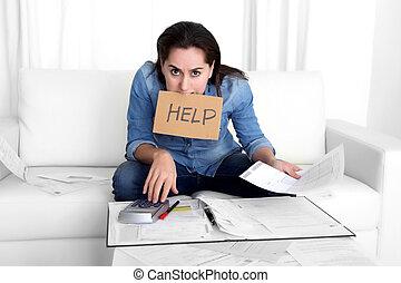 jonge vrouw , bezorgd, thuis, in, stress, boekhouding,...