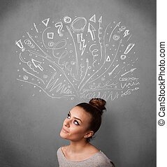 jonge vrouw , denken, met, sketched, pijl, boven, haar, hoofd