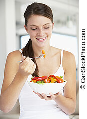 jonge vrouw , eten, een, gezonde , slaatje