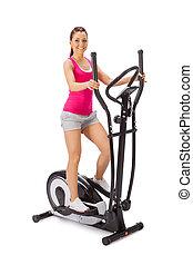 jonge vrouw , gebruiken, elliptisch, kruis, trainer.