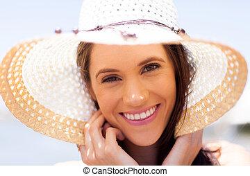 jonge vrouw , gezicht, closeup