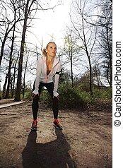 jonge vrouw , het rusten, na, jogging