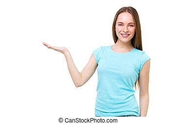 jonge vrouw , het voorstellen, iets, met, open hand, vrijstaand, op, white.