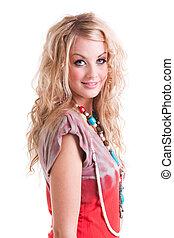 jonge vrouw , in, band-kleurstof, hemd, en, necklace., vrijstaand