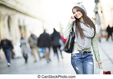 jonge vrouw , in, de, shoppen