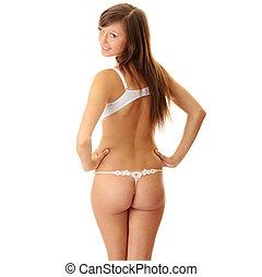 jonge vrouw , in, ondergoed
