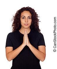 jonge vrouw , in, yoga positie